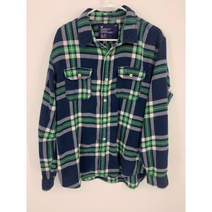 AEO XL green blue atheletic flannel button down
